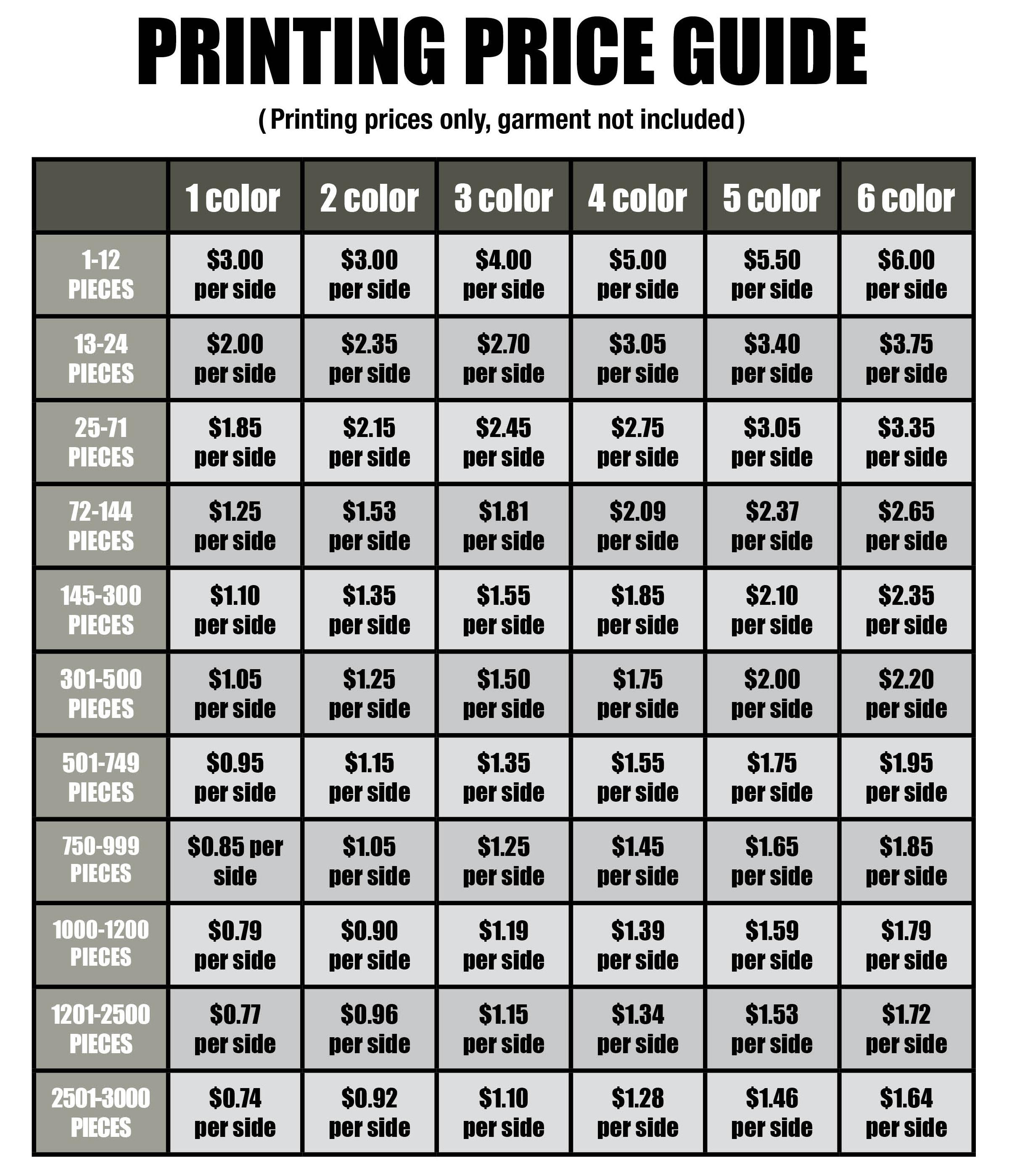 t Shirt Price List Price List
